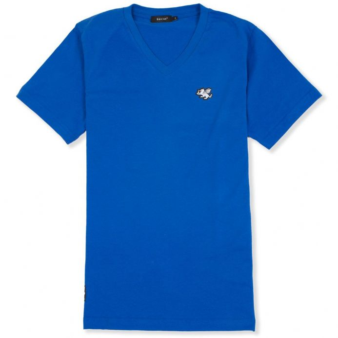 Senlak V-Neck Logo T-shirt - Royal Blue